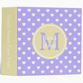 Blue Lilac and Vanilla Cream Hearts Monogram 3 Ring Binders