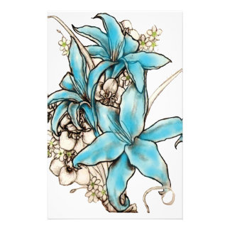 Blue Lilies Customized Stationery