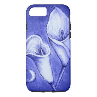 Blue Lilies, Iphone 7, Hand Drawn, Tough Case