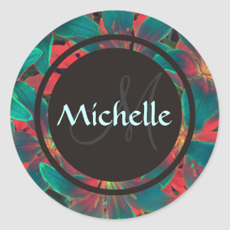 Blue Lilies Monogram & Name Sealer / Sticker