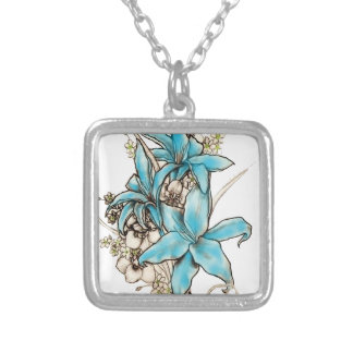 Blue Lilies Silver Plated Necklace