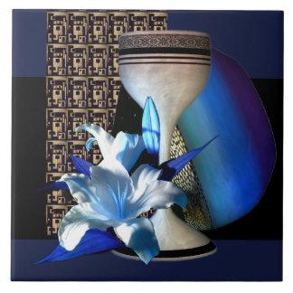 Blue Lily Blue Gold Vase Tan Graphics Tile