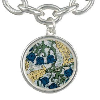 Blue Lily of the Valley pattern Charm Bracelets