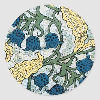 Blue Lily of the Valley pattern Classic Round Sticker