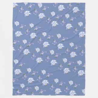 Blue Lily Pattern Fleece Blanket