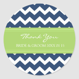 Blue Lime Chevron Thank You Wedding Favor Tags