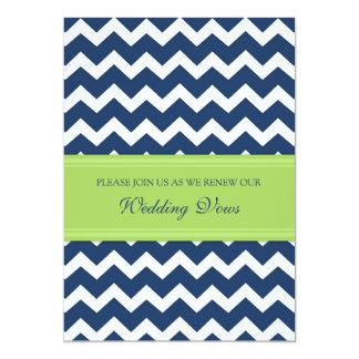 Blue Lime Chevron Wedding Vow Renewal Invitations