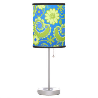 Blue Lime Flower Swirl Print Table lamp Colorful