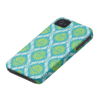 blue lime green and cream ornate damask iPhone 4 Case-Mate case