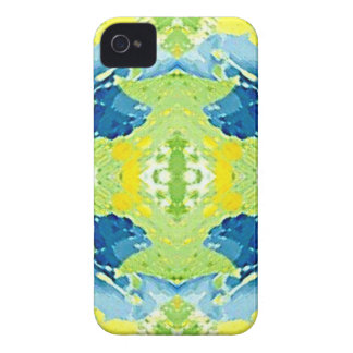 Blue Lime Green Modern Artistic Abstract iPhone 4 Cover