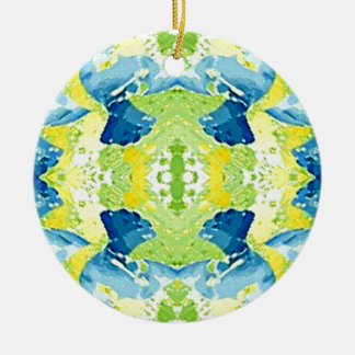 Blue Lime Green Modern Artistic Abstract Round Ceramic Ornament