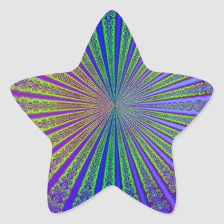 Blue Lime Green Purple Abstract Fractal Tunnel Star Sticker