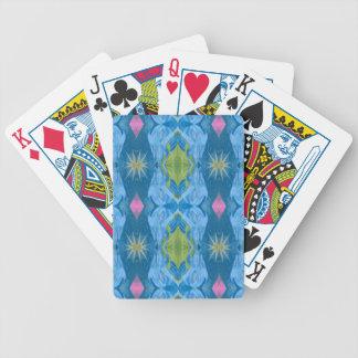Blue Lime Starburst tribal Pattern Bicycle Playing Cards