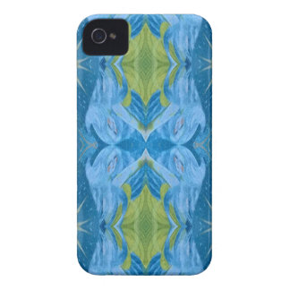 Blue Lime Starburst tribal Pattern iPhone 4 Case-Mate Case