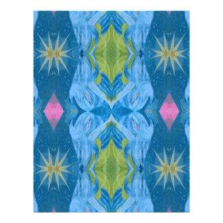 Blue Lime Starburst tribal Pattern Letterhead