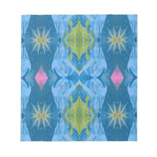 Blue Lime Starburst tribal Pattern Notepad