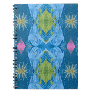 Blue Lime Starburst tribal Pattern Spiral Notebooks