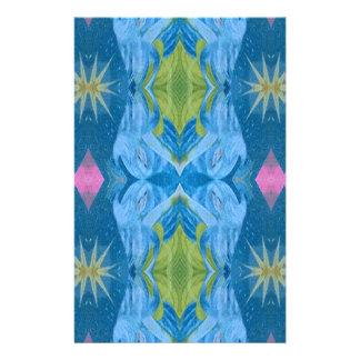 Blue Lime Starburst tribal Pattern Stationery