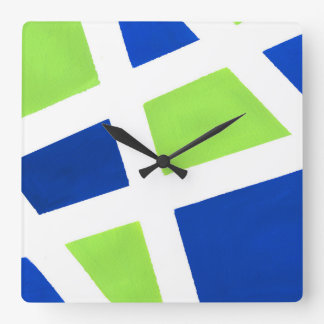 'Blue Lime White Geometric' Square Wall Clock