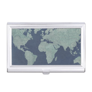 Blue Linen World Map Business Card Holder