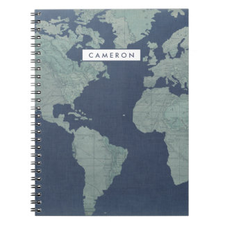 Blue Linen World Map Notebook