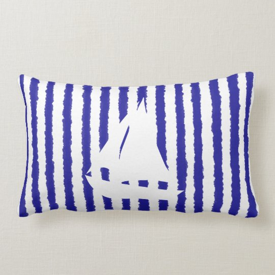 Blue Lines Boat Tie Dye Throw Decorative Pillow
