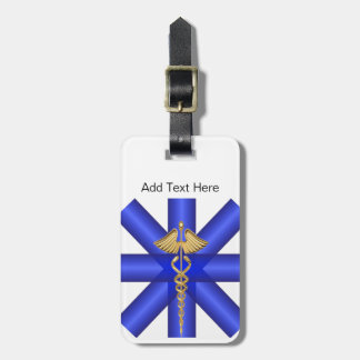 Blue Lines / Gold Caduceus EMT Symbol Luggage Tag