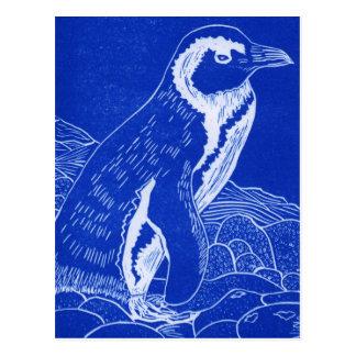 Blue Linocut Penguin Postcard