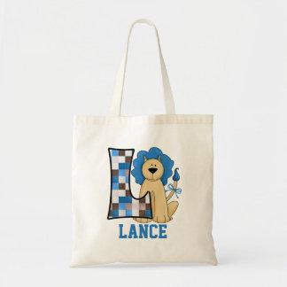 Blue Lion for Boy's Monogram L Tote Bag