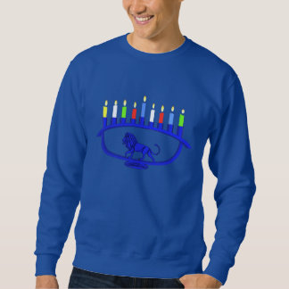Blue Lion Menorah Sweatshirt