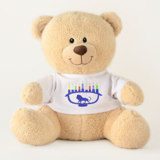 Blue Lion Menorah Teddy Bear