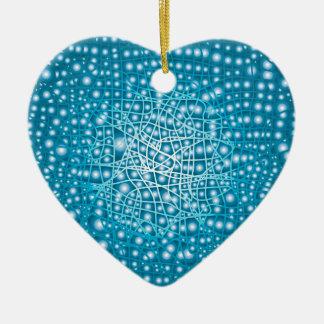 Blue Liquid Background Ceramic Heart Ornament