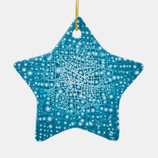 Blue Liquid Background Ceramic Star Ornament