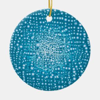 Blue Liquid Background Round Ceramic Ornament