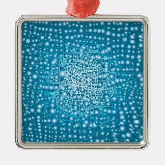 Blue Liquid Background Silver-Colored Square Ornament
