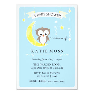 "Blue Little Owl | Baby Shower Invitation 5"" X 7"" Invitation Card"