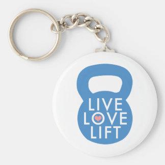 """Blue """"Live Love Lift!"""" Basic Round Button Keychain"""