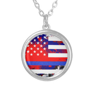 Blue Lives Matter Silver Plated Necklace