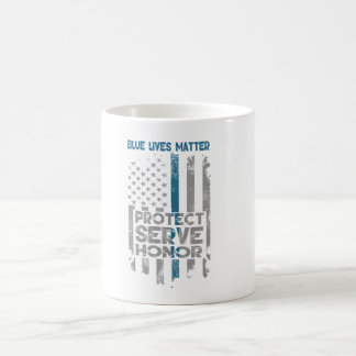 """Blue Lives Matter"" Thin Blue Line Coffee Mug"