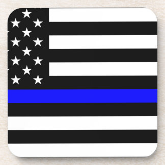 Blue Lives Matter - US Flag Police Thin Blue Line Beverage Coaster