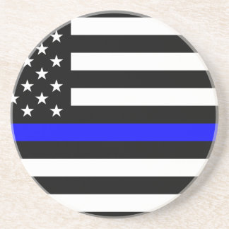 Blue Lives Matter - US Flag Police Thin Blue Line Coaster