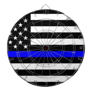 Blue Lives Matter - US Flag Police Thin Blue Line Dartboard