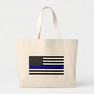 Blue Lives Matter - US Flag Police Thin Blue Line Large Tote Bag