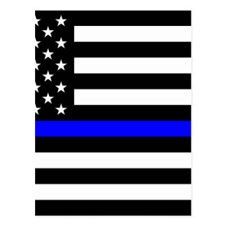 Blue Lives Matter - US Flag Police Thin Blue Line Postcard