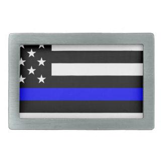 Blue Lives Matter - US Flag Police Thin Blue Line Rectangular Belt Buckle
