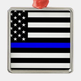 Blue Lives Matter - US Flag Police Thin Blue Line Silver-Colored Square Ornament