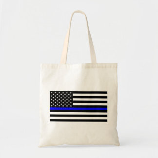 Blue Lives Matter - US Flag Police Thin Blue Line Tote Bag