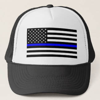 Blue Lives Matter - US Flag Police Thin Blue Line Trucker Hat