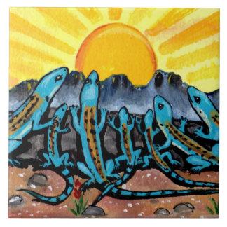 """Blue Lizards & Sunrise Southwestern Tile Trivet 6"""""""
