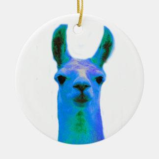 Blue Llama Graphic Ceramic Ornament